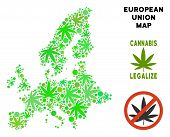 Royalty Free Cannabis European Union Map Composition Of Weed Leaves. Template For Narcotic Addiction poster