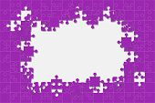 Purple Background Puzzle. Jigsaw Puzzle Banner. Vector Illustration Template Shape. Abstract Backgro poster