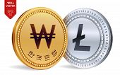 Litecoin. Won. 3d Isometric Physical Coins. Digital Currency. Korea Won Coin. Cryptocurrency. Golden poster