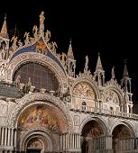 Basilica Di San Marco Illuminated At Night On Piazza San Marco. Italy. poster