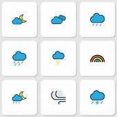 Climate Icons Colored Line Set With Raindrop, Nimbus, Moonbeam And Other Rainbow Elements. Isolated  poster