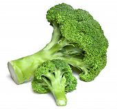 Fresh Green Broccoli, Isolated On White Background. Ripe Vegetable, Healthy Eating. Broccoli, Cookin poster