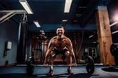 Muscular Strong Fitness Man Doing Deadlift Of A Barbell In Modern Fitness Center. Functional Trainin poster