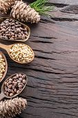 Pine nuts in the spoon and pine nut cone on the wooden table. Organic food. poster