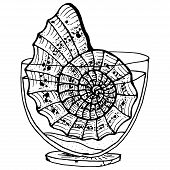 Doodle Large Shell In A Small Aquarium. Vector Illustration Of A Shell In An Aquarium. Hand Drawn  B poster