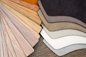 Fabric And Wooden Samples For Floor Laminate Or Furniture In Home Or Commercial Building.small Color poster
