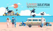 Summer Vacation Man Woman Surf Bus Sunrise Tropical Beach Retro Surfing Vintage Villa Island Horizon poster