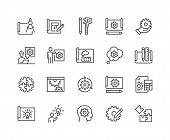 Simple Set Of Engineering Design Related Vector Line Icons. Contains Such Icons As Blueprint, Idea,  poster
