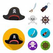 Pirate, Bandit, Cap, Hook .pirates Set Collection Icons In Cartoon, Flat Style Vector Symbol Stock I poster