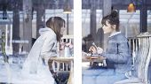 Two Casual Cute Female Friends Smiling Having A Light Talk Met In A Cafe To Talk And Eat Salad And D poster
