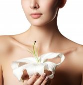 Pretty Face Of Beautiful Young Woman With Lily On Hands - White Background. Beauty Face Of Young Wom poster