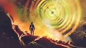 Sci-fi Scene Showing The Man Discovers Powers Of Electricity Energy Ball, Digital Art Style, Illustr poster