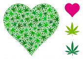 Heart Composition Of Weed Leaves In Different Sizes And Green Tones. Vector Flat Weed Leaves Are Com poster