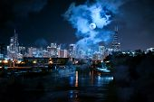 City of Chicago skyline with the river and a full moon at night poster