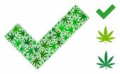 Yes Composition Of Weed Leaves In Different Sizes And Green Hues. Vector Flat Weed Items Are Combine poster