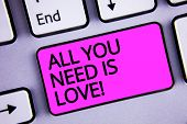 Handwriting Text All You Need Is Love Motivational. Concept Meaning Deep Affection Needs Appreciatio poster