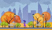 Autumn Public City Park Vector Illustration. Rainy Cold Weather With Alone Walking Girl poster