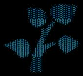 Halftone Flora Plant Mosaic Icon Of Spheric Bubbles In Blue Color Tinges On A Black Background. Vect poster