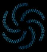 Halftone Galaxy Collage Icon Of Circle Bubbles In Blue Color Hues On A Black Background. Vector Circ poster