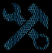 Halftone Hammer And Wrench Mosaic Icon Of Circle Elements In Blue Shades On A Black Background. Vect poster
