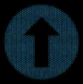 Halftone Rounded Arrow Mosaic Icon Of Spheres In Blue Color Hues On A Black Background. Vector Round poster