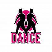 Dance Logo For Dance School, Dance Studio. Vector Illustration poster