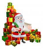Christmas Cartoon Of Santa Claus Holding A Scroll And Pen Quill Feather And Standing In The Middle O poster
