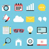 Vector Illustrations Of Symbols Blogging, Copyrighting And Advertising. Set Icons For Blog Content M poster