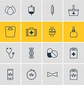 Illustration Of 16 Health Icons Line Style. Editable Set Of Serum, Cardiogram, Cardiogram Signals An poster