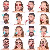 Постер, плакат: Emotion Set Feeling And Emotions Human Emotions Facial Expression Concept Collage Of Different E