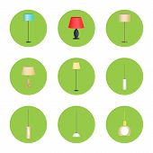 Electricity Lamps Isolated In Green Circles Set, Vector Illustration Standard-lamps, Different Form  poster