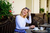 Mug Of Good Coffee In Morning Gives Me Energy Charge. Woman Elegant Happy Face Have Coffee Cafe Terr poster