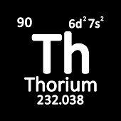 Periodic Table Element Thorium Icon On White Background. Vector Illustration. poster