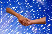 Engagement hands with a blue soapy background. Engagement hands with a wedding ring and soapy backgr poster