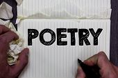 Handwriting Text Writing Poetry. Concept Meaning Literary Work Expression Of Feelings Ideas With Rhy poster