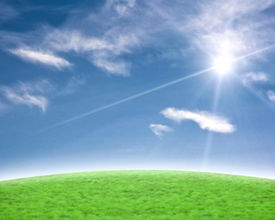 stock photo of sun rays  - Blue sky and green with a beautiful sun flare background - JPG