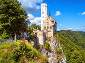 Lichtenstein Castle In Summer, Baden-wurttemberg, Germany. This Famous Castle Is A Landmark Of Germa poster