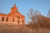 An Ancient Abandoned And Ruined Church, Crumbling Red Brick Temple, An Abandoned Red Brick Temple Il poster
