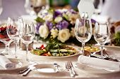 stock photo of banquet  - Empty glasses set in restaurant - JPG