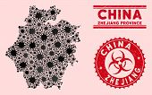 Coronavirus Collage Zhejiang Province Map And Red Grunge Stamp Watermarks With Biohazard Symbol. Zhe poster