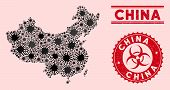 Coronavirus Collage China Map And Red Corroded Stamp Seals With Biohazard Symbol. China Map Collage  poster