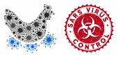 Coronavirus Mosaic Chicken Virus Icon And Round Corroded Stamp Watermark With Sars Virus Control Phr poster