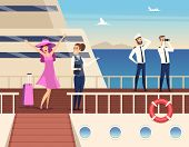 Captain On The Sea Ship. Sailor Cruise Team Boat Officer And Stuart Travel Vector Concept Background poster