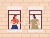Two Female Neighbors Drinking Tea Together Vector Flat Illustration. Cartoon Woman Gossiping Through poster