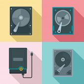 Hard Disk Icons Set. Flat Set Of Hard Disk Vector Icons For Web Design poster