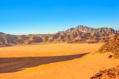 Aerial View Of Valley Landscape Of Wadi Rum Desert And Valley Of The Moon In The Afternoon, Southern poster