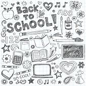 stock photo of sketch book  - Back to School Supplies Sketchy Notebook Doodles with Lettering - JPG