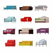 Sofa Vector Modern Furniture Couch Seat Furnished Interior Design Of Living-room At Apartment Home I poster
