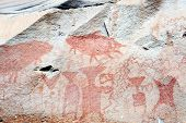 Ancient rock paintings in Pha Taem National Park, thailand