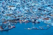 Aerial view on Tromso, Norway, Tromso At Winter Time, Christmas in Tromso, Norway 